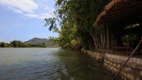el viento sacude ramas en el banco contra las montañas distantes del agua metrajes