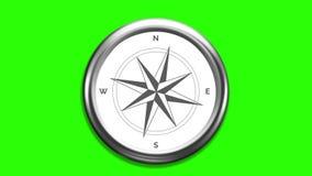 El viento subió compás con los indicadores de giro en la pantalla verde 4K stock de ilustración