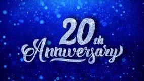 el vigésimo aniversario desea las partículas chispeantes del centelleo del polvo del brillo azul colocadas stock de ilustración