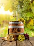 El vino blanco sirvió en el barril de madera, viñedo en fondo Fotografía de archivo