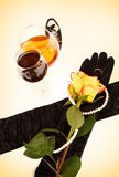 El vino del coñac y se levantó Fotografía de archivo libre de regalías