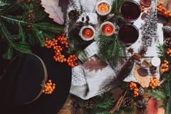 El vino reflexionado sobre en vidrios, bayas rojas, topetones y otoño ramifica en la tabla de madera fotos de archivo