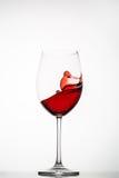El vino rojo salpica en un vidrio Imágenes de archivo libres de regalías