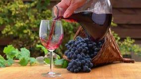 El vino se vierte de una jarra de cristal en un vidrio almacen de metraje de vídeo