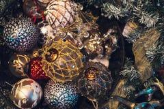 El vintage antiguo o la Navidad retra juega el fondo de la decoración Fotografía de archivo libre de regalías