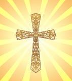 El vintage Christian Cross con el estampado de flores del oro en fondo con el sol irradia Fotos de archivo