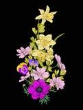 El vintage del bordado florece el ramo de amapola, narciso, anémona, Fotos de archivo libres de regalías