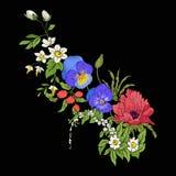 El vintage del bordado florece el ramo de amapola, narciso, anémona, Foto de archivo libre de regalías