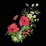 El vintage del bordado florece el ramo de amapola, narciso, anémona, Imagen de archivo