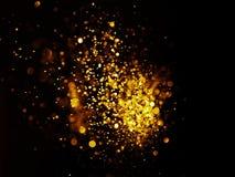 El vintage del brillo enciende el fondo oro oscuro y negro Imagenes de archivo