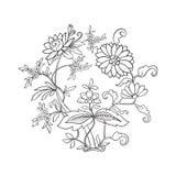 El vintage del esquema florece el ramo o el modelo Foto de archivo libre de regalías
