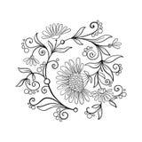 El vintage del esquema florece el ramo o el modelo Imagen de archivo libre de regalías
