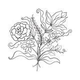 El vintage del esquema florece el ramo o el modelo Imagenes de archivo