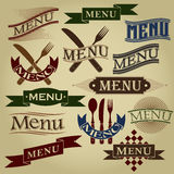 Diseños caligráficos del MENÚ Imagen de archivo libre de regalías