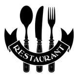 Cuchillo, bifurcación y cuchara/sello del restaurante Fotografía de archivo libre de regalías