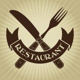 El vintage diseñó el cuchillo y el sello de la bifurcación/del restaurante Imagenes de archivo