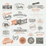 El vintage diseñó etiquetas superiores de la calidad ilustración del vector