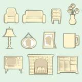 El vintage empaqueta vector del interior de los iconos fotos de archivo libres de regalías