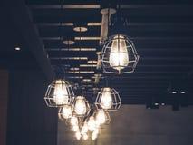 El vintage enciende la decoración interior de las lámparas fotografía de archivo libre de regalías