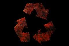 El vintage envejecido oxidado recicla símbolo en fondo negro Foto de archivo