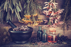 El vintage estilizó la foto de los manojos y del mortero de las hierbas curativas Foto de archivo