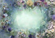 El vintage florece la pintura Flores en estilo suave del color y de la falta de definición ilustración del vector
