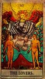 El vintage las cartas de tarot de los amantes ama el afecto de las sociedades de las opciones El ir, otro stock de ilustración