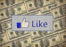 El vintage le gusta dólares mezclados facebook imagenes de archivo