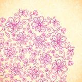 El vintage rosado del doodle florece el círculo Foto de archivo libre de regalías