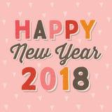 El vintage tipográfico de la tarjeta de la Feliz Año Nuevo 2018 encendido se ruboriza rosa stock de ilustración