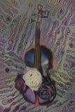 El violín viejo con las notas musicales y se levantó Fotos de archivo