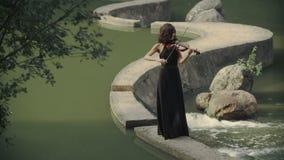 El violinista moreno elegante en bosque juega en el puente al aire libre metrajes