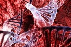 el virus penetra en la estructura de la sangre y los órganos internos El concepto del laboratorio de la virología ilustración del vector