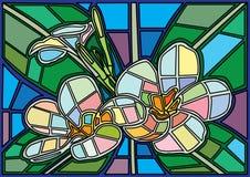El vitral de Moses de la flor es un vidrio de mosaico que se utiliza para adornar una imagen de una puerta de la ventana ilustración del vector