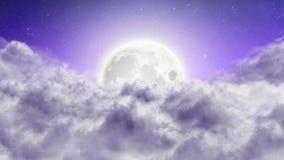 El volar adelante sobre las nubes en la noche stock de ilustración