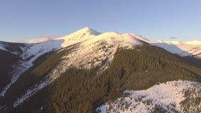 El volar cerca de las montañas rocosas cubiertas con nieve almacen de video