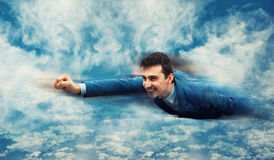 El volar como un super héroe imágenes de archivo libres de regalías