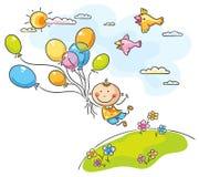 El volar con los globos stock de ilustración
