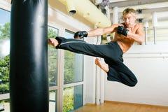 El volar de los artes marciales Fotografía de archivo libre de regalías
