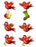 El volar de los pájaros del invierno de la Navidad ilustración del vector