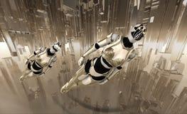 El volar de los soldados del Cyborg Imagen de archivo libre de regalías