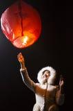 El volar deseando a la muchacha ligera Imagen de archivo libre de regalías