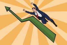 El volar encima de hombre de negocios El aumento en negocio Ejemplo hermoso en estilo cómico Foto de archivo libre de regalías