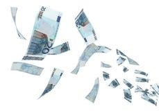 el volar euro de 20 billetes de banco Imagen de archivo