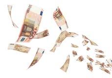 El volar euro euro de 50 billetes de banco Fotos de archivo