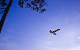 El volar hacia la puesta del sol Imagenes de archivo