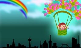 El volar para coger el arco iris de la esperanza Fotos de archivo