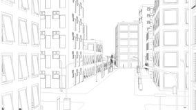 El volar sobre ciudad del dibujo en blanco ilustración del vector