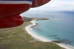 El volar sobre Falkland Islands Imagen de archivo libre de regalías