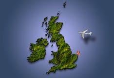 El volar sobre Gran Bretaña Foto de archivo libre de regalías